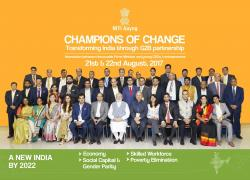 Theme-wise group photos of all participants with the Hon'ble PM